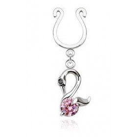 Faux piercing téton forme anneau avec pendentif motif signe cristal rose