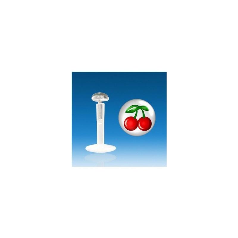 Piercing labret barre en bioflex teflon modèle logo cerise rouge