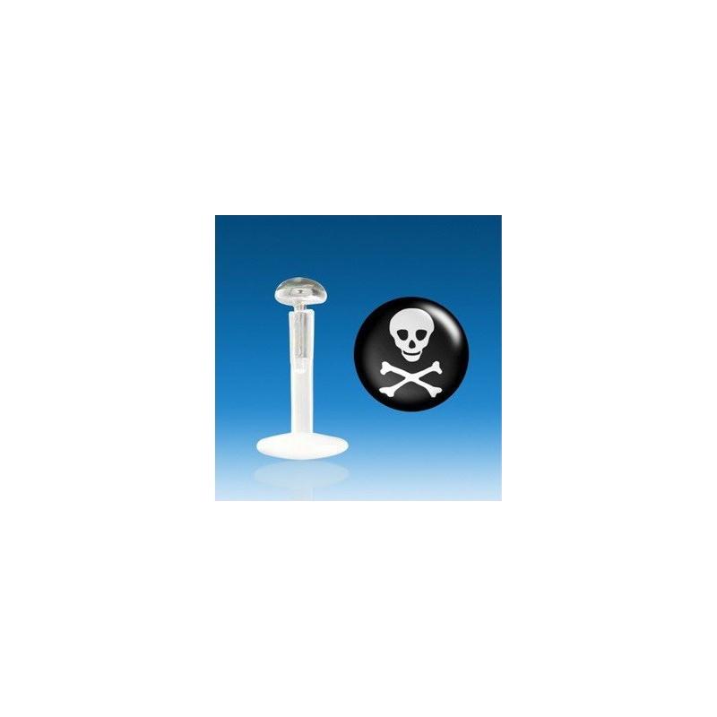 Piercing labret barre en bioflex teflon embout en argent massif avec logo skull tête de mort noir