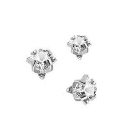 Piercing embout pour microdermal cristal forme carré couleur blanc diamant