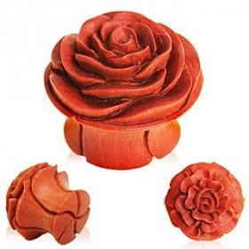 piercing Plug en bois marron sculpté motif fleur
