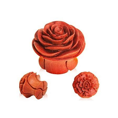 Plug en bois marron sculpté motif fleur