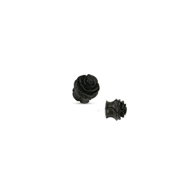 piercing Plug oreille en bois Noir sculpté fait main motif fleur