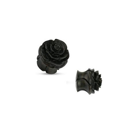 Piercing Plug en bois Noir sculpté motif fleur