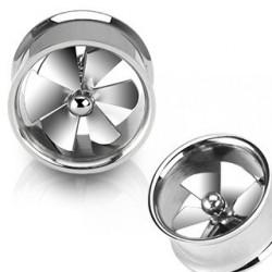 Piercing Tunnel oreille motif ventilateur acier