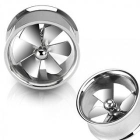piercing Tunnel plug ecarteur oreille forme helice de ventilateur acier chirurgical