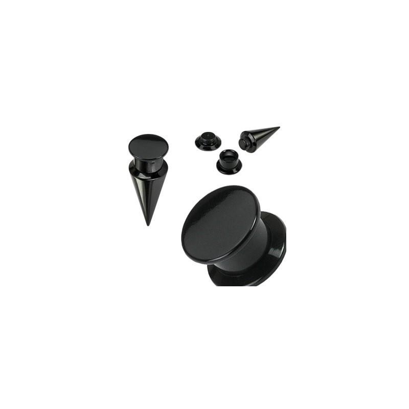 piercing Ecarteur plug pointe en acrylique 2 en 1 noir pas cher