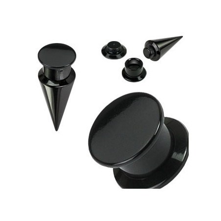 Ecarteur plug en acrylique 2 en 1 noir