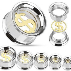Piercing Plug tunnel Dollar US en acier