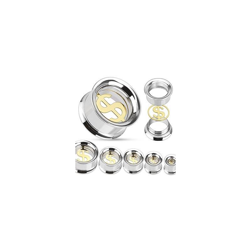piercing ecarteur Plug tunnel Dollar US en acier chirurgical couleur acier et or