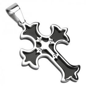 Pendentif motif croix gothique médiéval en acier inoxydable de couleur noir