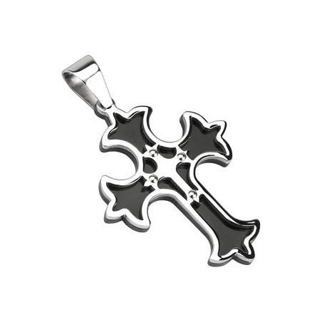 Pendentif croix médiéval acier noir