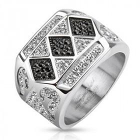 Bague chevalière pour homme en acier inoxydable 3 motifs Diamonds