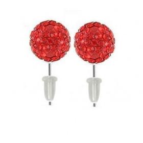 Boucle d'oreille en acier chirurgical boule multi cristaux de couleur cristal Rouge