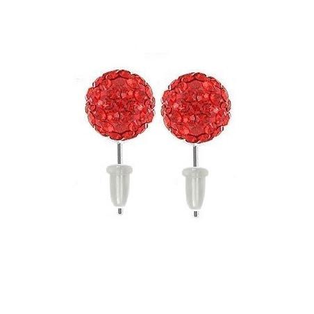 Boucle d'oreille boule cristal Rouge