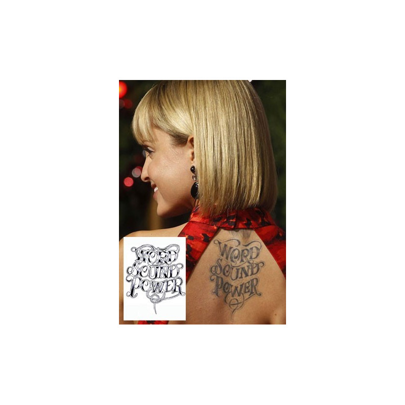 Mena Suvari Tattoo Word Sound Power