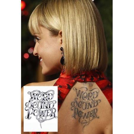 Mena Suvari Tattoo Word Sound Power