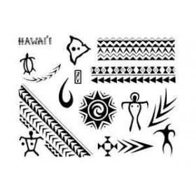 Tatouages Bracelets Hawaii Maori et Polynesien autocollant
