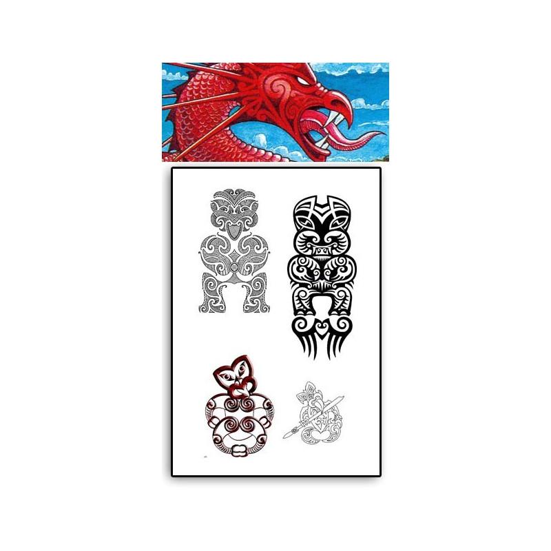 Tattoos temporaires Taniwha Maori Polynesiens
