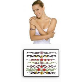 Tatouages Bracelets Fleurs Tribal temporaires
