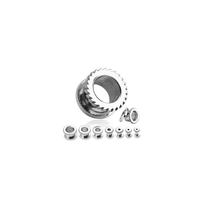 Piercing ecarteur plug Tunnel d oreille motif lame de scie en acier chirurgical