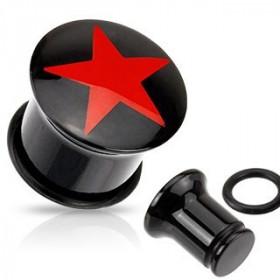 Piercing ecrateur plug tunnel oreille en acrylique noir logo étoile rouge