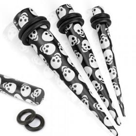 piercing ecarteur Expender oreille motif logo Tete de mort en acrylique couleur noir