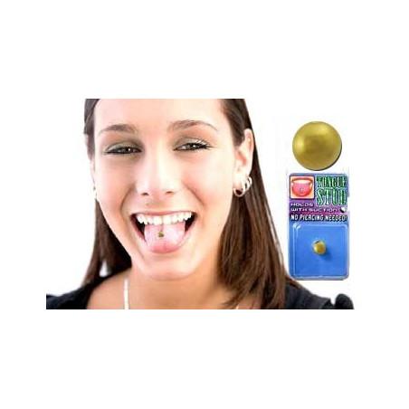 Faux piercing langue Acier couleur Or