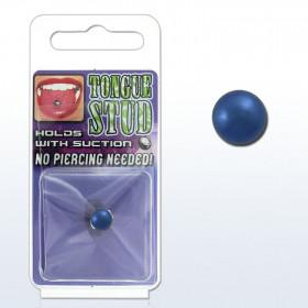 Faux piercing pour la langue en Acier chirurgical anodisé couleur Bleu titane de qualité