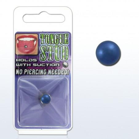 Faux piercing langue Acier couleur Bleu