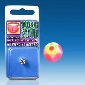 Faux piercing langue Phosphorescent Rose fluo motif étoile