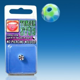 Faux piercing langue Phosphorescent bille Bleu fluo motif étoile