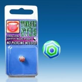 Faux piercing Langue Phosphorescent bille bleu et vert