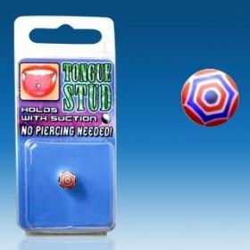 Faux piercing Langue Phosphorescent bille uv fluo couleur rouge