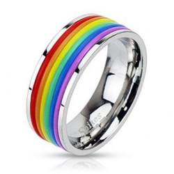 Bague acier gay pride