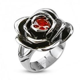 Bague femme en Acier chirurgical inoxydable motif Rose Pierre rouge