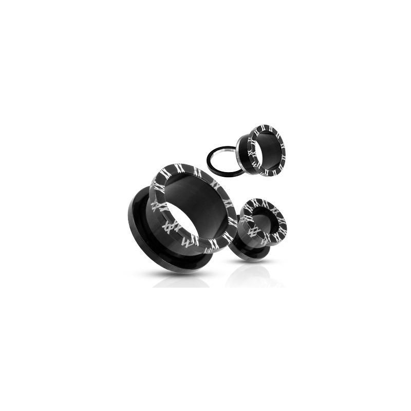 Plug noir chiffre romain flesh tunnel en acier chirurgical noir