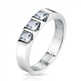 Bague alliance femme acier chirurgical inoxydable 3 cristaux blanc