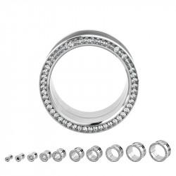 Piercing tunnel acier cristal Blanc