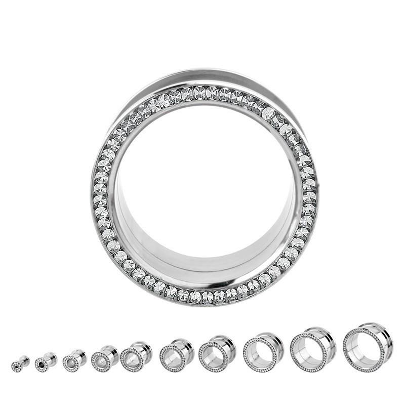 Piercing tunnel écarteur en acier chirurgical inoxydable cristal Blanc