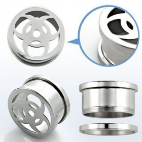 Piercing écarteur Tunnel lobe d'oreille en acier chirurgical inoxydable logo Biohazard
