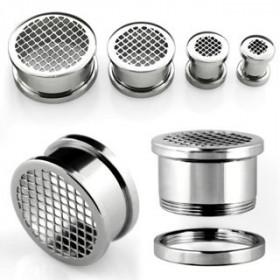 Piercing ecarteur tunneil oreille an acier chirurgical inoxydable motif grinder acier