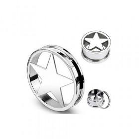 Piercing écarteur Tunnel d'oreille motif étoile en acier chirurgical acier 316l