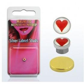 Faux piercing aimanté magnétique As de coeur pour nez levre et oreille