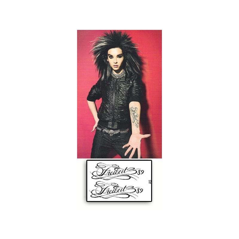 Bill Kaulitz Tokio Hotel Tatouage temporaire bras Freiheit