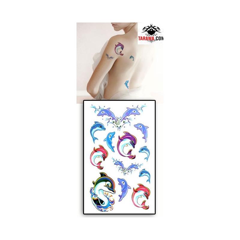 Tatouages Temporaires Dauphins couleurs