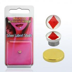 Faux Piercing magnétique aimanté logo As de carreau pour le labre le nez et le tragus