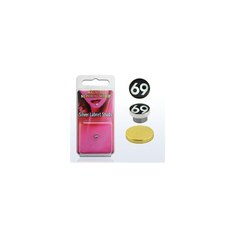 Faux piercing nez tragus labret magnétique Aimanté logo 69