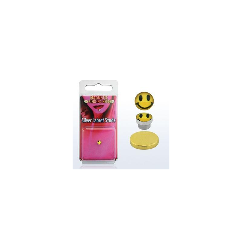 Faux piercing aimanté magnétique logo smiley pour nez labret et oreille