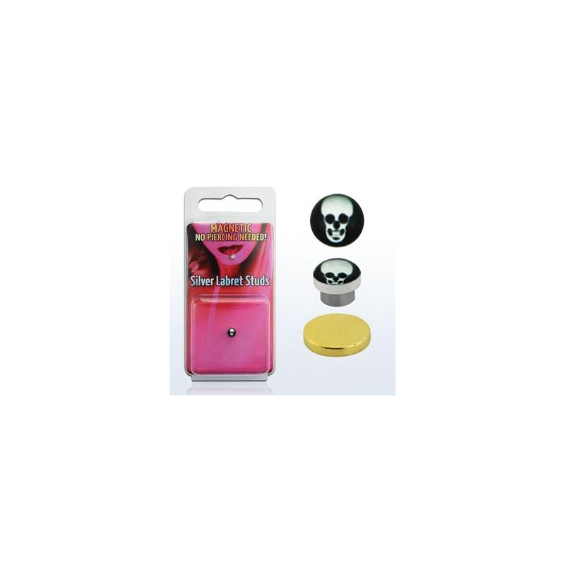 Faux piercing magnétique logo tête de mort aimanté pour labret oreille et nez
